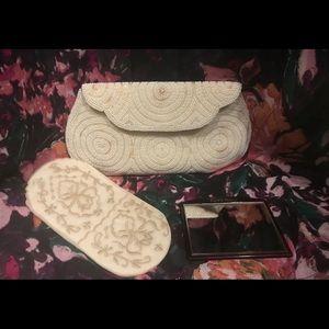 40's/50's Vintage Beaded Purse; Mirror; Makeup Bag